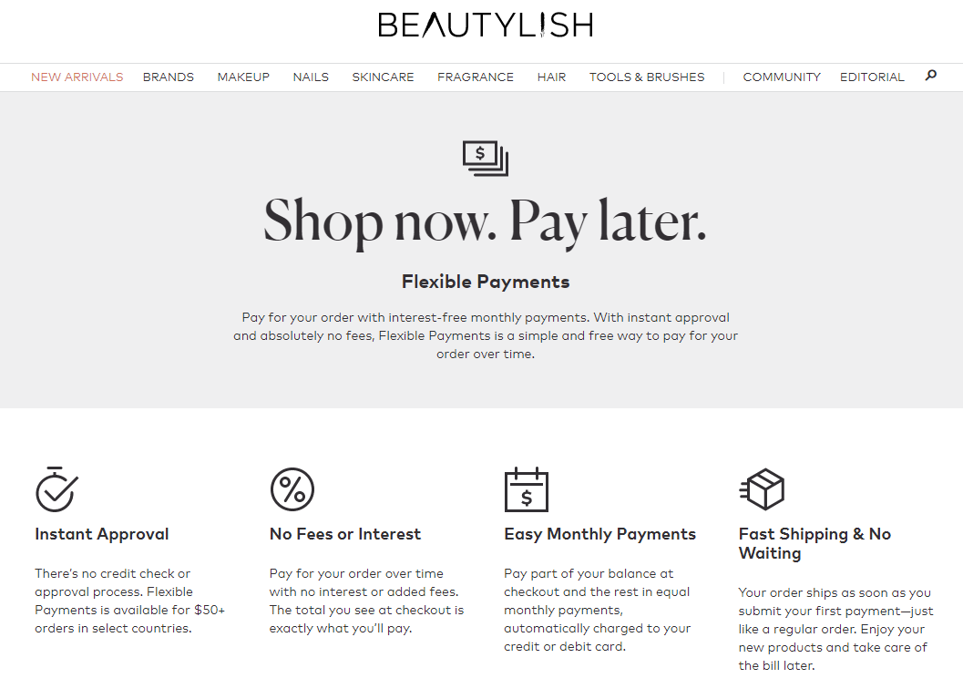 Beautylish Now Pay Later S