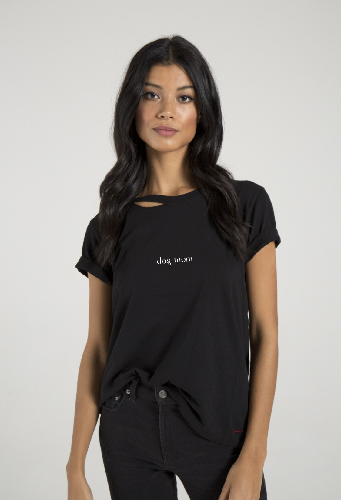 It is all about being a dog mom. This version of our better than your boyfriend's Tee, the Harlow Distressed BFF Tee gives the same comfort with a slimmer, more flattering slouchy fit. We always keep it 100. Basics should never be boring which is why we've added some hand distressing and strategic slits at the front and back of neck.