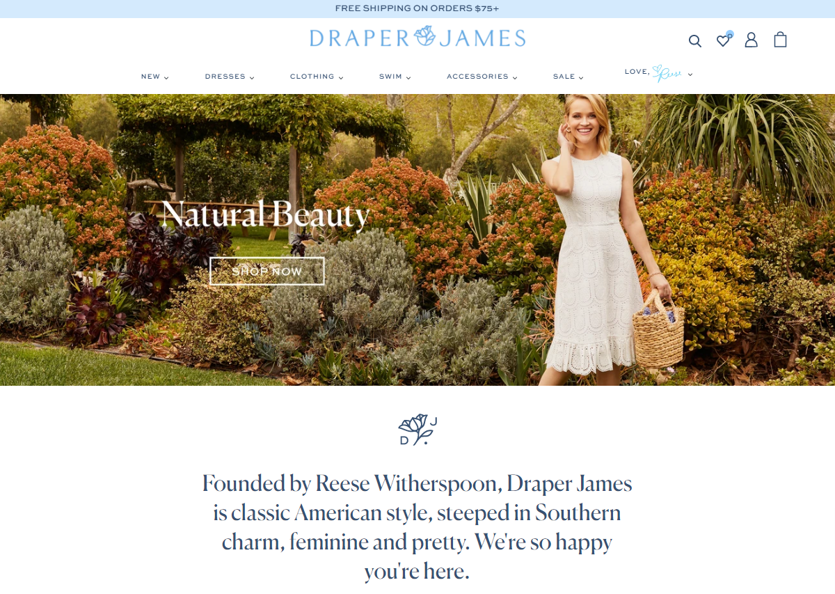 Founded by Reese Witherspoon, Draper James is classic American style, steeped in Southern charm, feminine and pretty. We're so happy you're here.