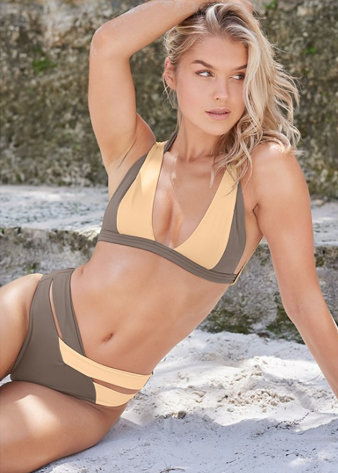 A bold design inspired by the sandy shores of Rio, this Sports Illustrated Swim™ Brazilian Bralette bikini top boasts trendy color block styling in a dimensional, layered design that can't help but turn heads.